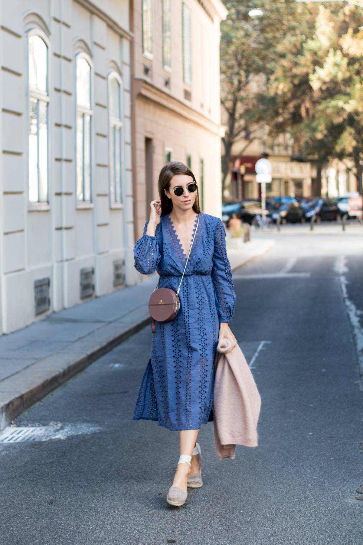 Bardot Alexa Blue Maxi Dress, Acne Dramatic Mohair Sweater in Pink